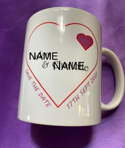 SAVE THE DATE PERSONALISED MUG INCLUDES UK POSTAGE - Send to a Friend UK