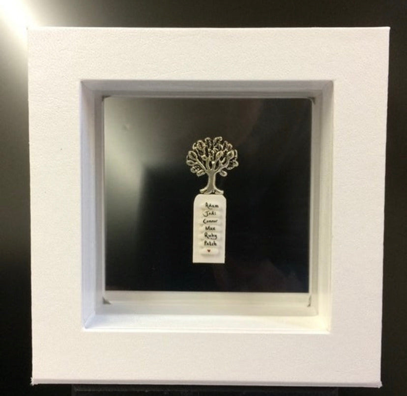 Name on rice in a frame with Family Tree charm FREE UK POSTAGE - Send to a Friend UK