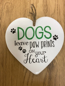Dog Heart hanging plaque
