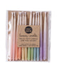 Package of 12 hand-dipped assorted color beeswax birthday candles with ombré effect