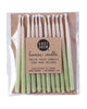 Package of 12 hand-dipped mint green color beeswax birthday candles with ombré effect