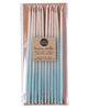 Package of 12 tall hand-dipped aqua color beeswax birthday candles with ombré effect