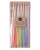 Package of 12 tall hand-dipped beeswax birthday candles with ombré effect in assorted colors