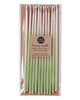 Package of 12 tall hand-dipped mint color beeswax birthday candles with ombré effect