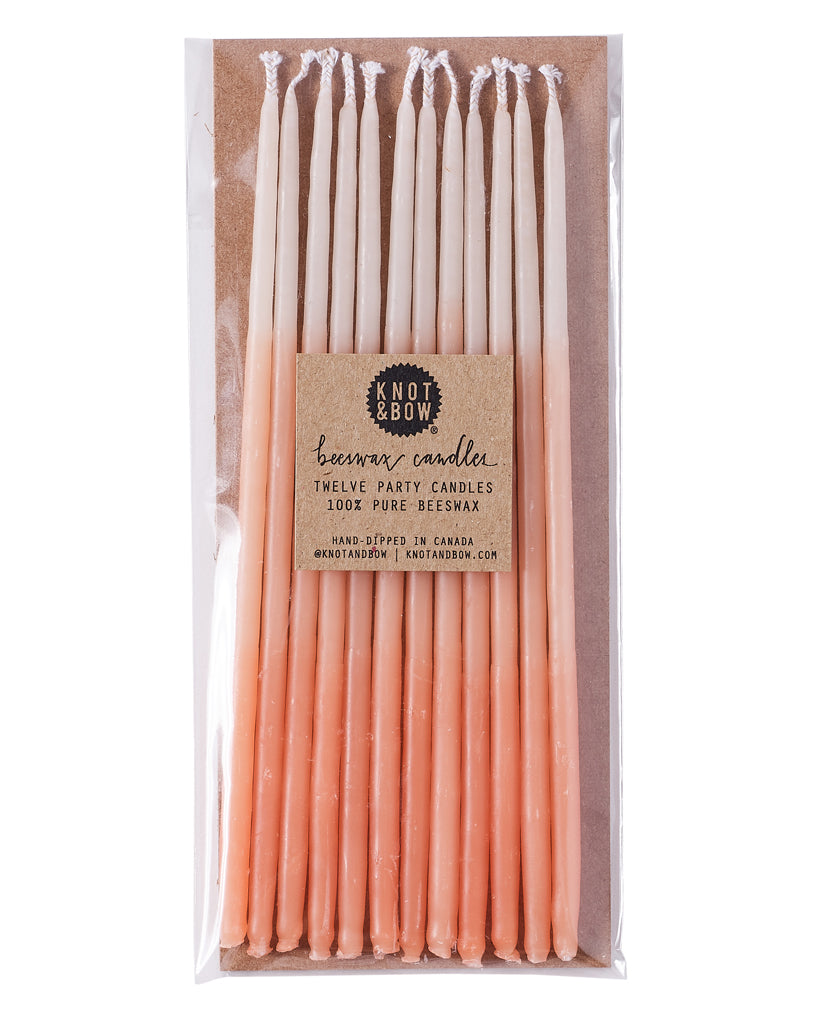 Peach Ombré Tall Beeswax Party Candles