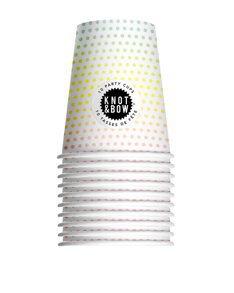Knot & Bow Rainbow Dot Party Cups