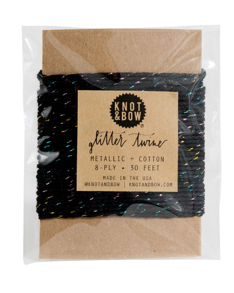 Knot & Bow Glitter Twine Card Prism Black