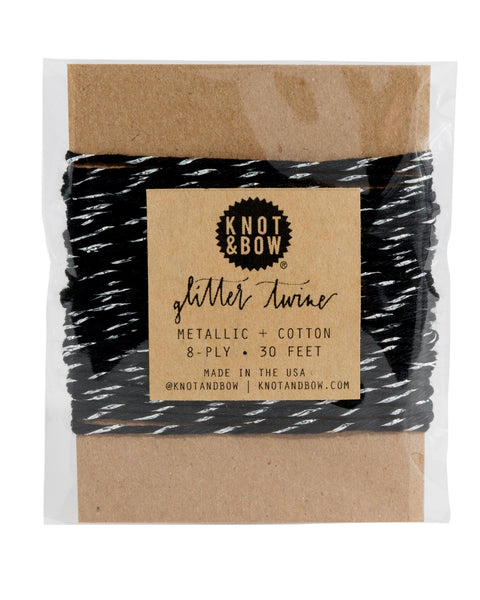 Knot & Bow Glitter Twine Card Silver Black