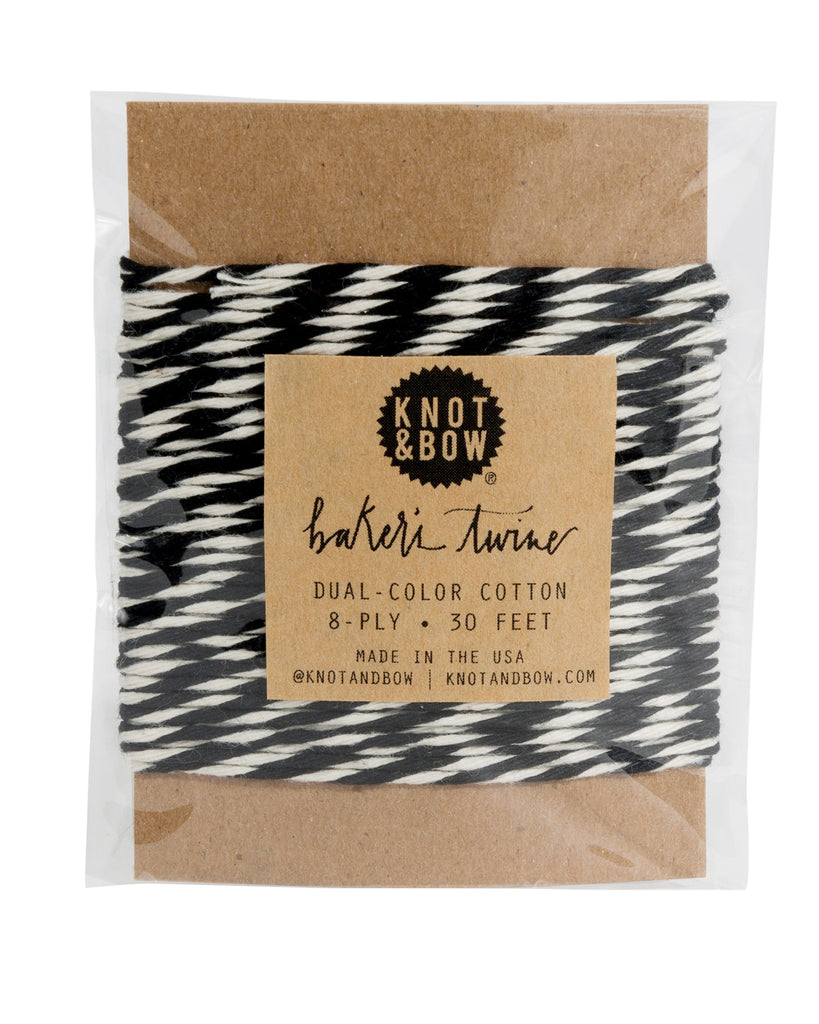 30 feet of dual-color cotton baker's twine in black and white