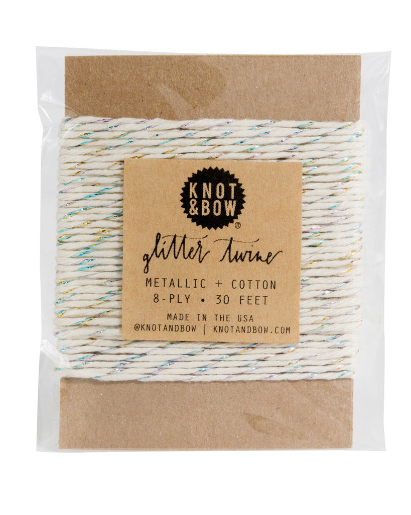Knot & Bow Glitter Twine Card Prism Natural