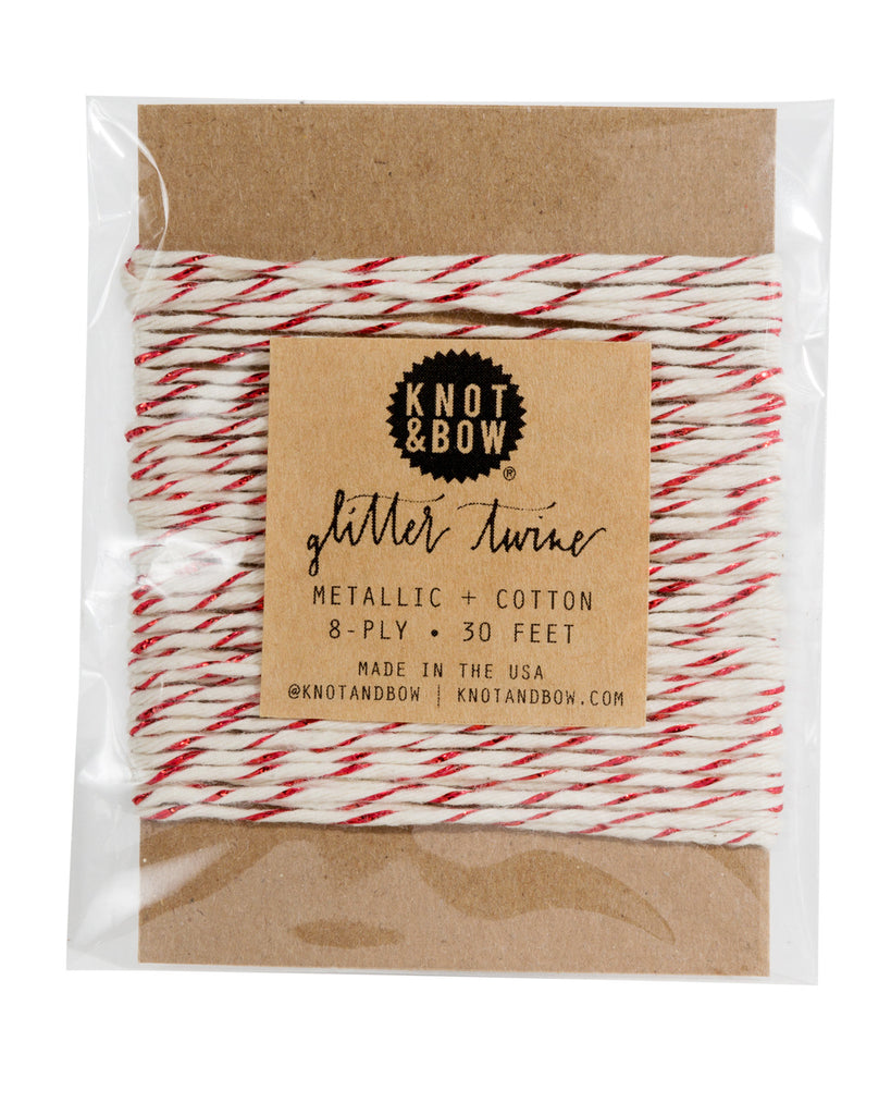 Knot & Bow Glitter Twine Card Red Natural