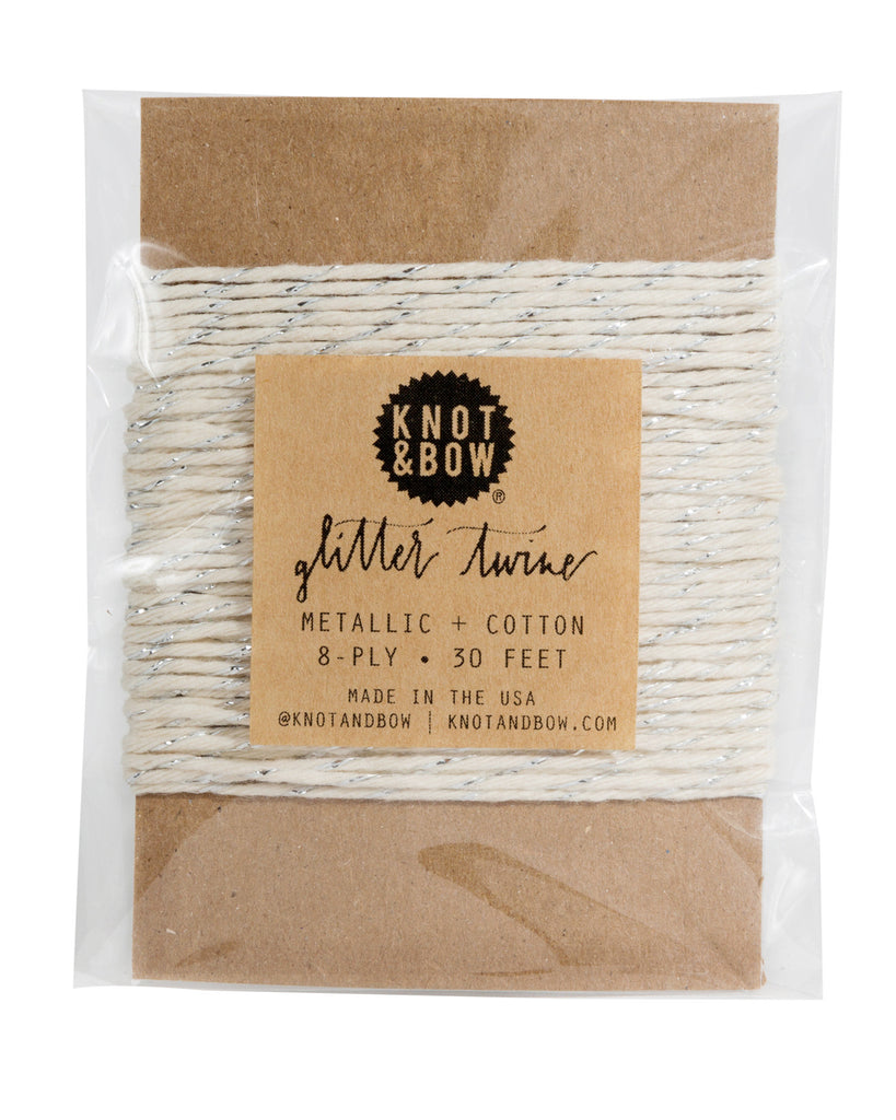 Knot & Bow Glitter Twine Card Silver Natural