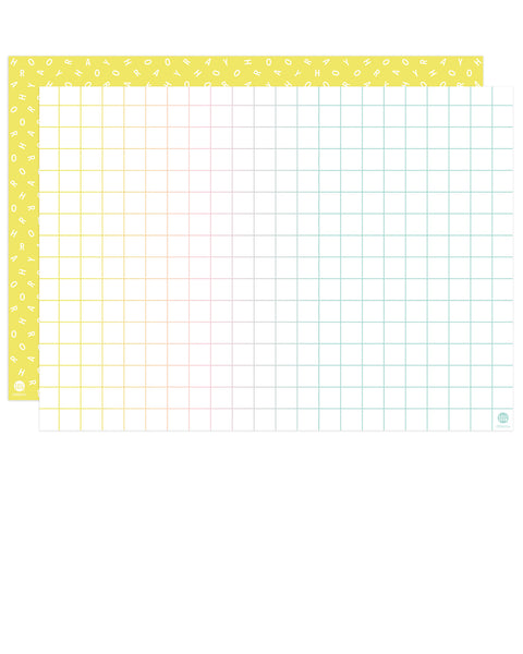 front and back of double-sided gift wrap in yellow hooray scramble and gradient rainbow windowpane patterns