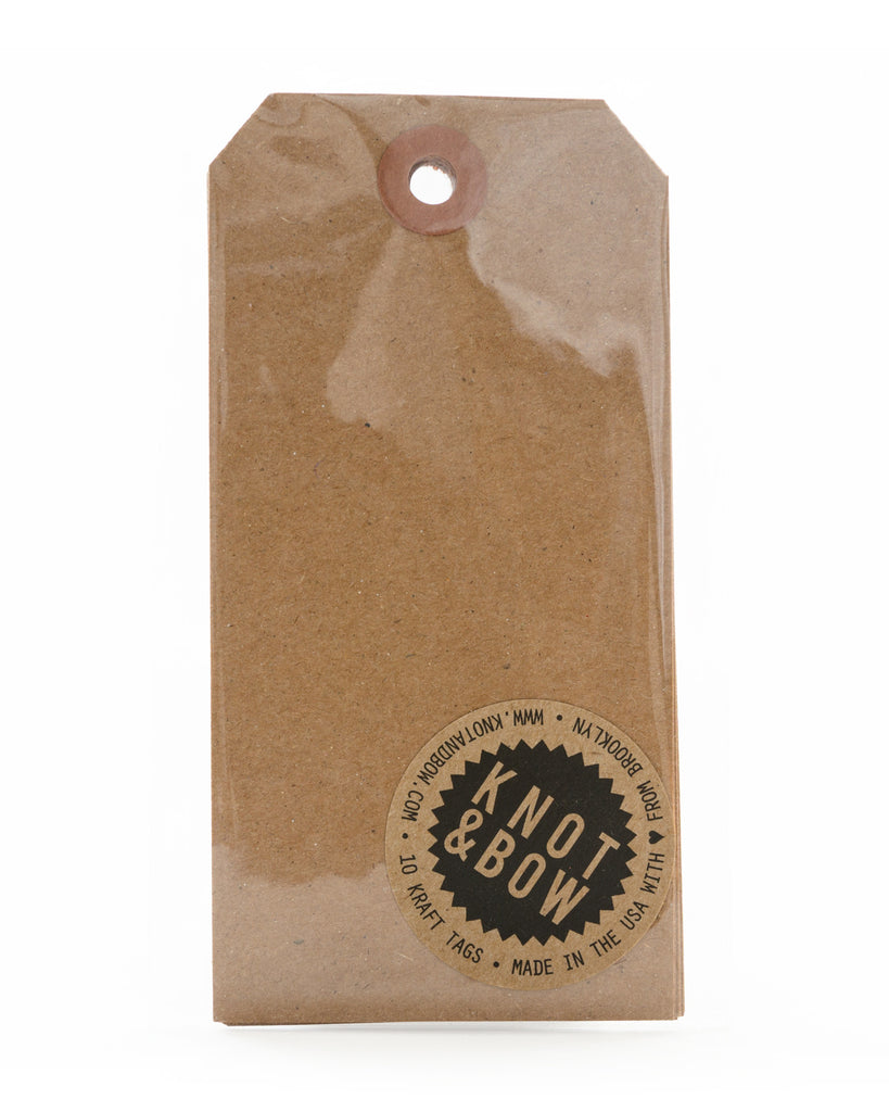 Package of 10 extra large parcel gift tags in kraft paper