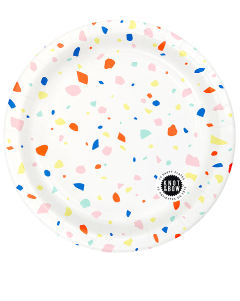 Package of 10 large paper party plates in a rainbow chip pattern