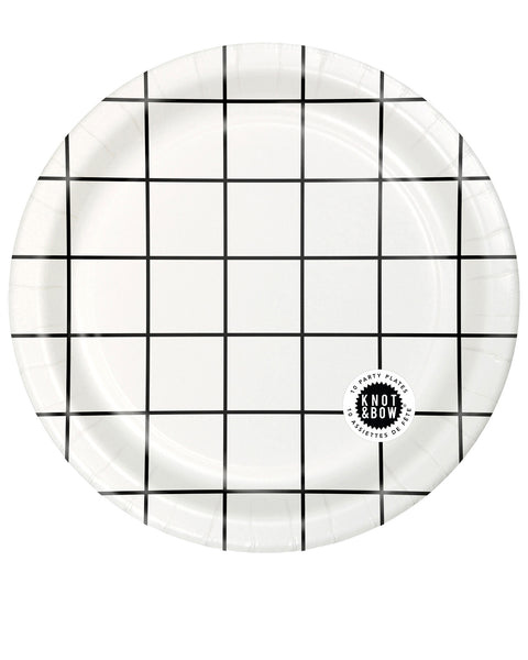 Package of 10 large paper party plates in white with a black windowpane pattern