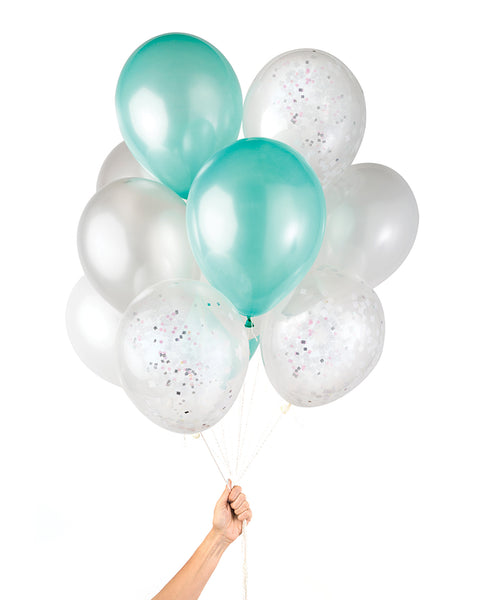 Bunch of party balloons in a mix of mermaid teal and metallic colors and clear balloons filled with iridescent confetti