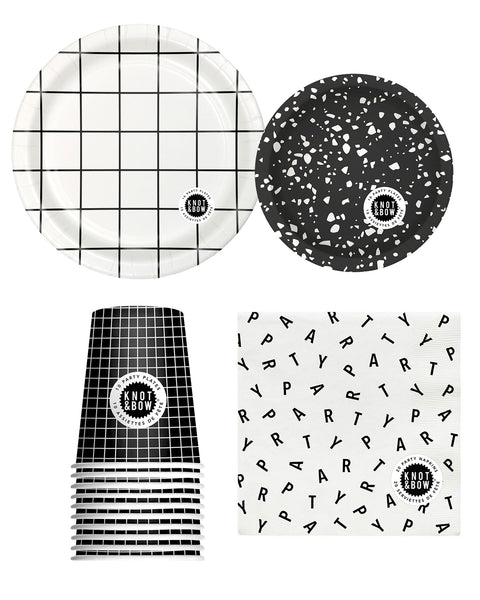 Party tableware bundle of black and white patterned napkins, cups, large and small plates