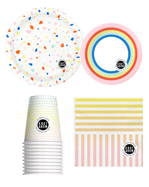 Party tableware bundle of rainbow patterned napkins, cups, large and small plates