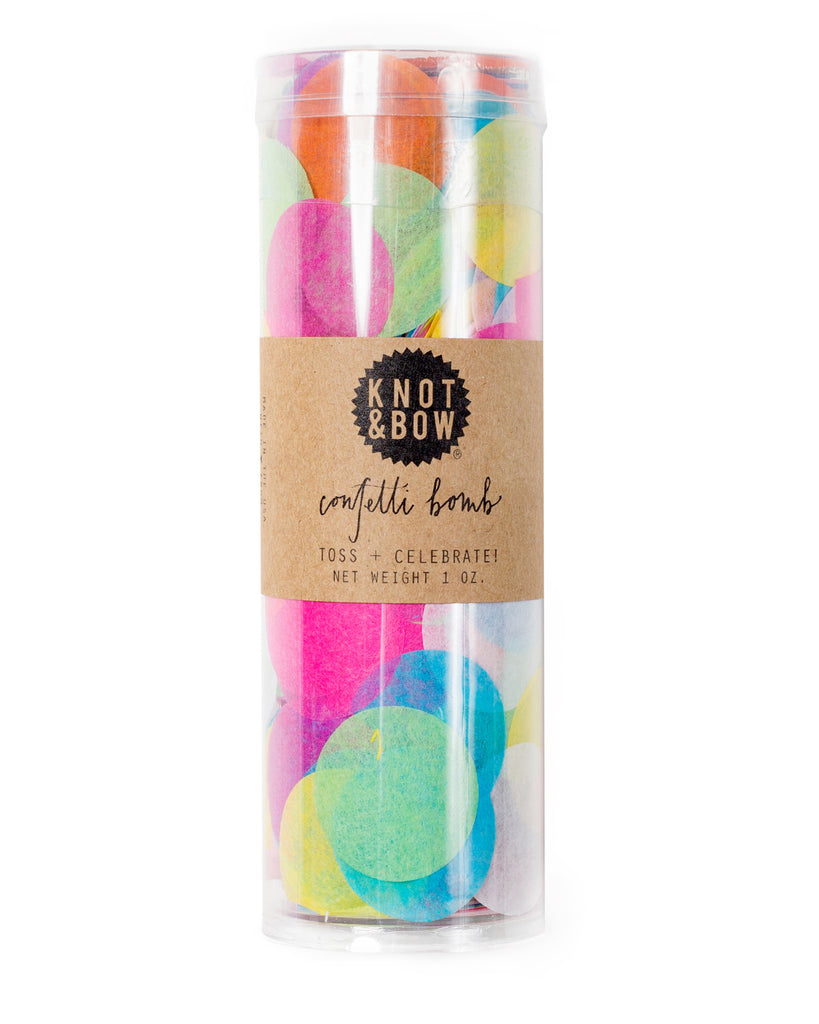 Confetti bomb tube of 1 ounce of party confetti in assorted rainbow circles.