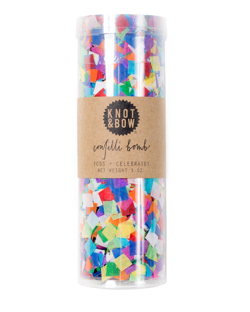 Confetti bomb tube of 1 ounce of party confetti in tiny rainbow squares.