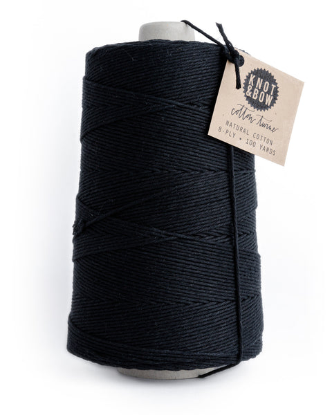 Jumbo cone with 750 yards of cotton twine in black