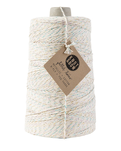Jumbo cone with 750 yards of glitter twine in natural cotton with a twist of metallic rainbow prism