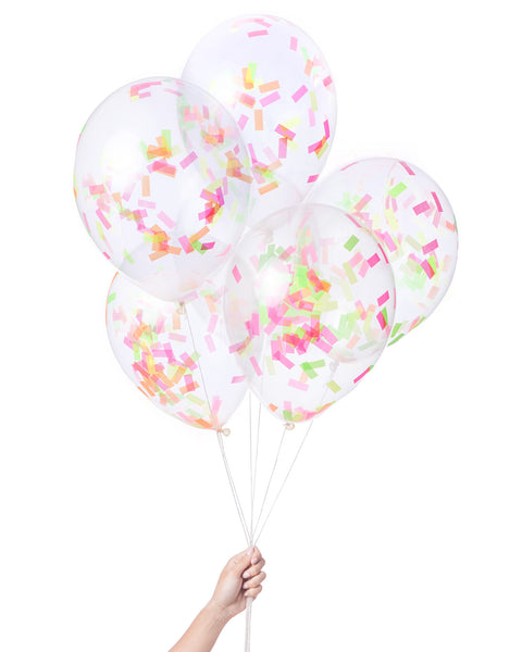 Bunch of clear balloons filled with rectangle neon confetti