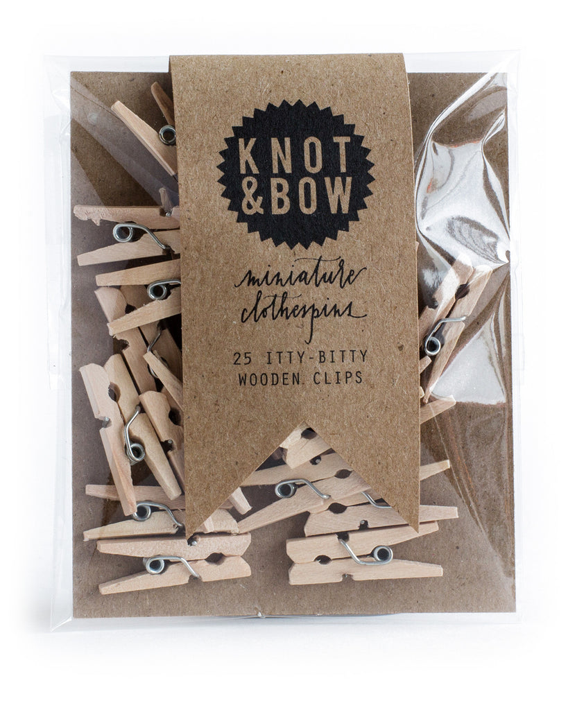 Pack of 25 miniature wooden clothespins