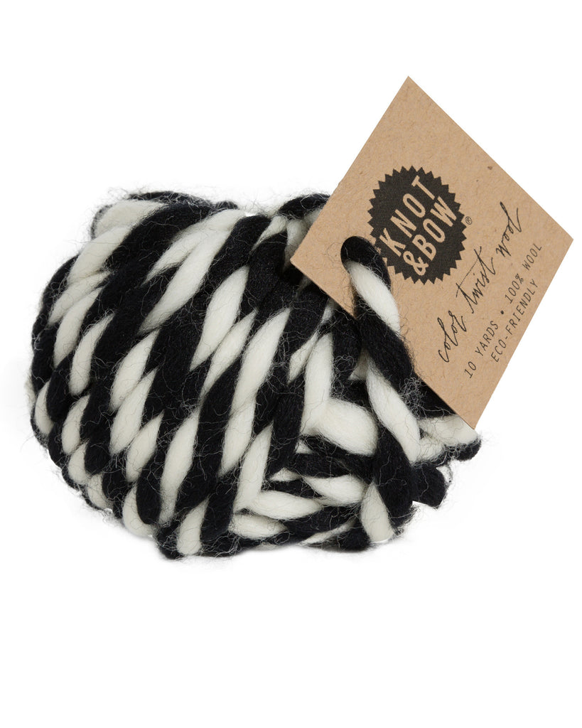 Knot & Bow Color Twist Wool Ball Black