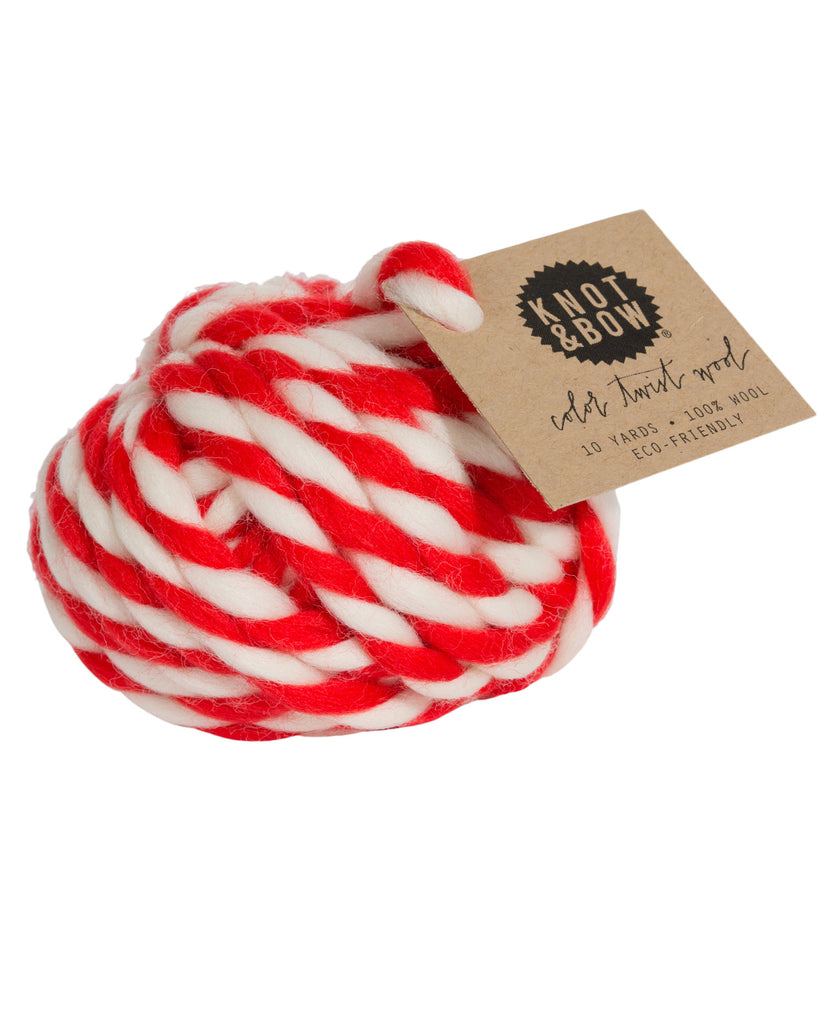 Knot & Bow Color Twist Wool Ball Warm Red