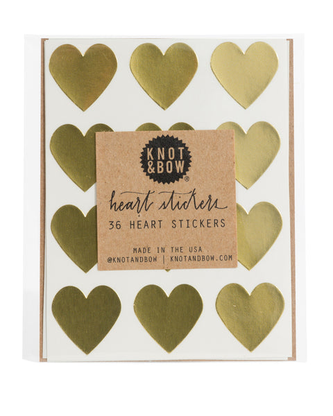 Pack of 36 heart shaped stickers in metallic gold