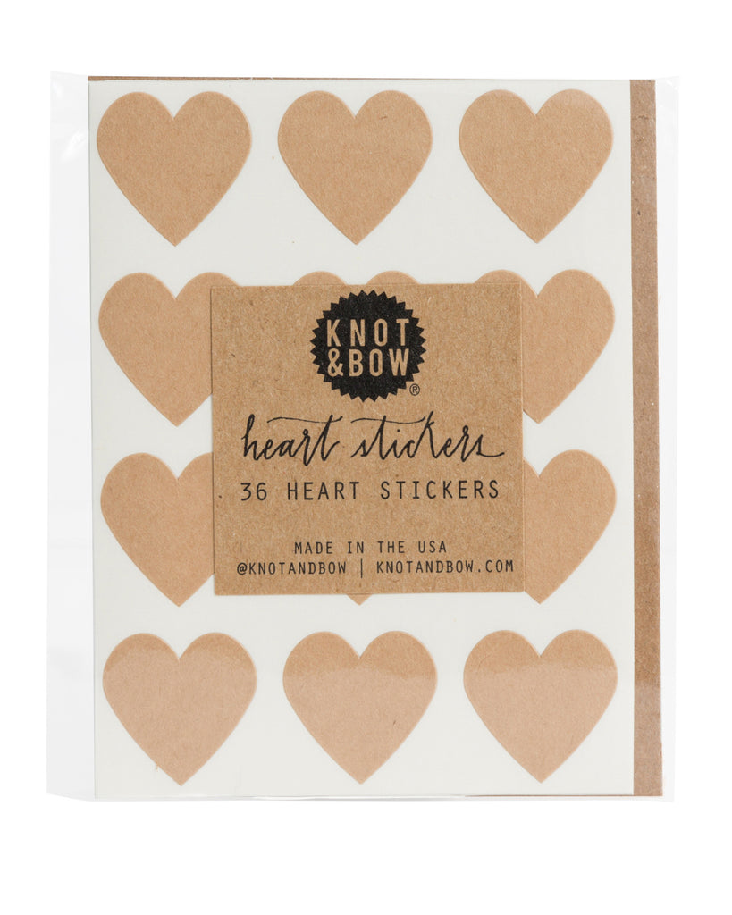 Pack of 36 heart shaped stickers in kraft paper