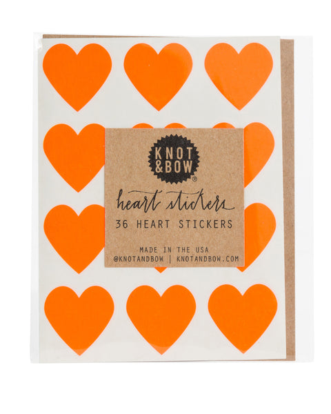 Knot & Bow 36 Heart Stickers Neon Red