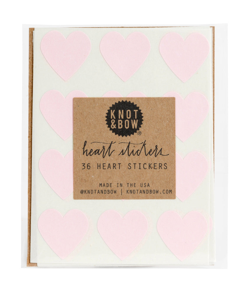 Pack of 36 heart shaped stickers in light pink