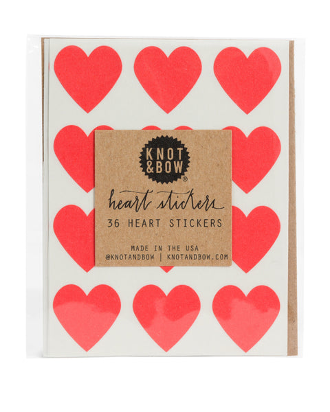 Knot & Bow 36 Heart Stickers Red