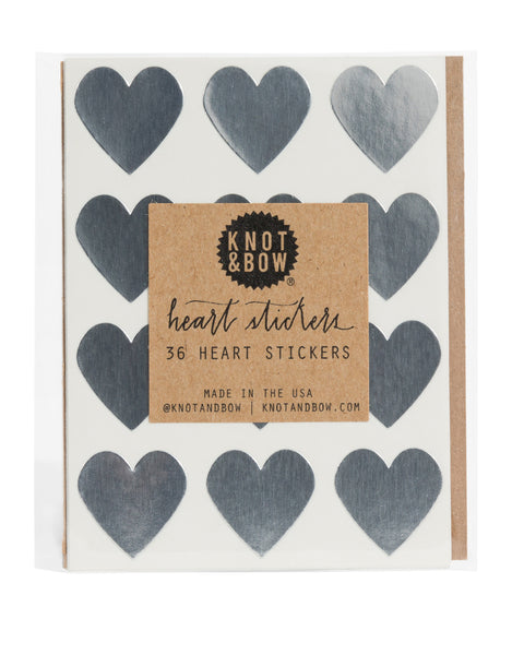 Pack of 36 heart shaped stickers in metallic silver