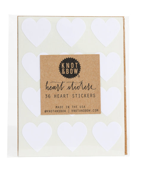 Pack of 36 heart shaped stickers in white