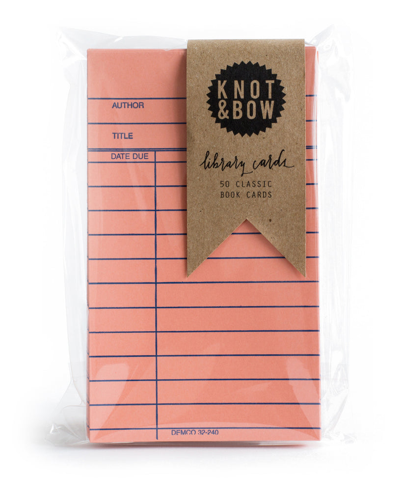 Pack of 50 classic library book note cards in coral