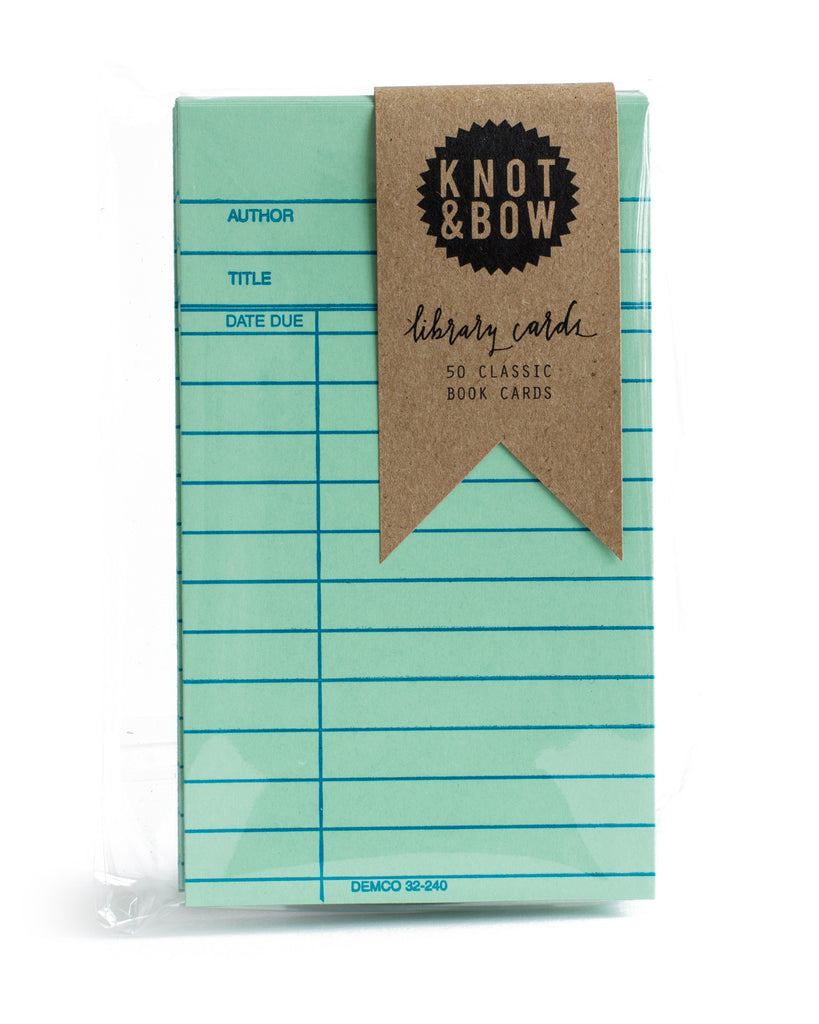 Pack of 50 classic library book note cards in green