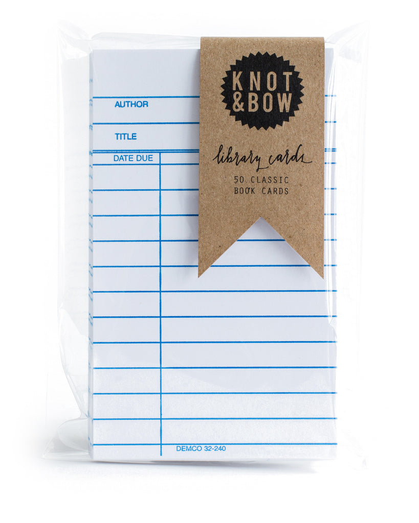 Pack of 50 classic library book note cards in white