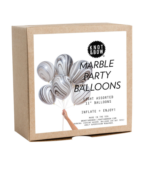 Knot & Bow Marble Party Balloons Black & White
