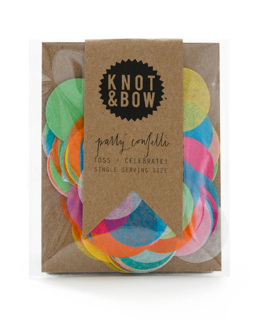 Single serving size of party confetti in assorted rainbow circles.