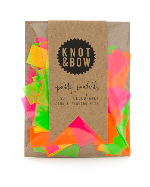 Single serving size of party confetti in a mix of neon colors.
