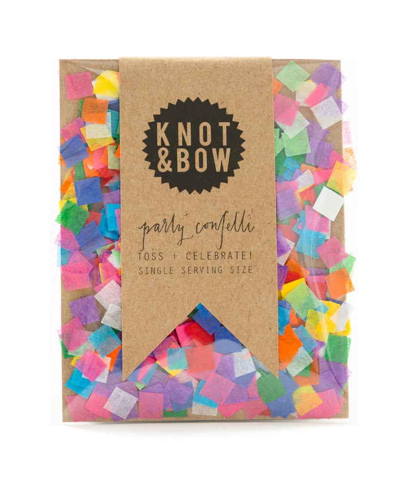 Single serving size of party confetti in a mix of tiny rainbow squares.
