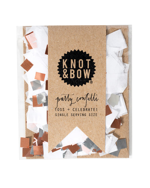 Single serving size of party confetti in a mix of white and copper metallic.