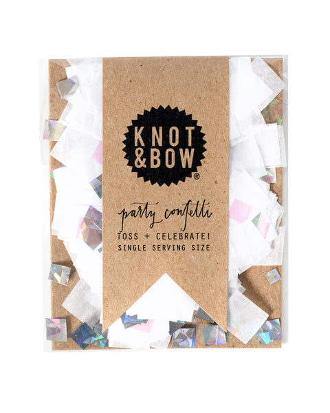 Single serving size of party confetti in a mix of white and iridescent.