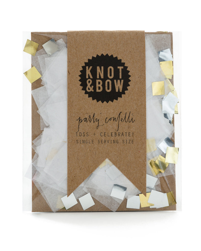 Single serving size of party confetti in a mix of white and gold metallic.