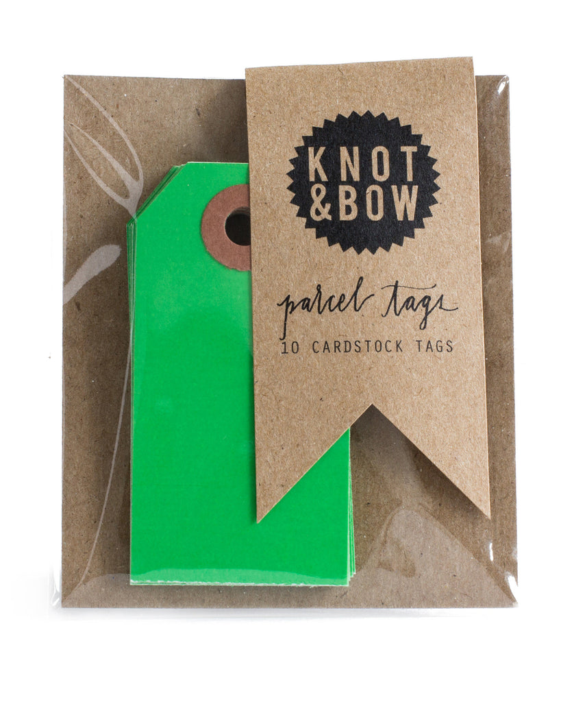 Package of 10 paper parcel gift tags in kelly green