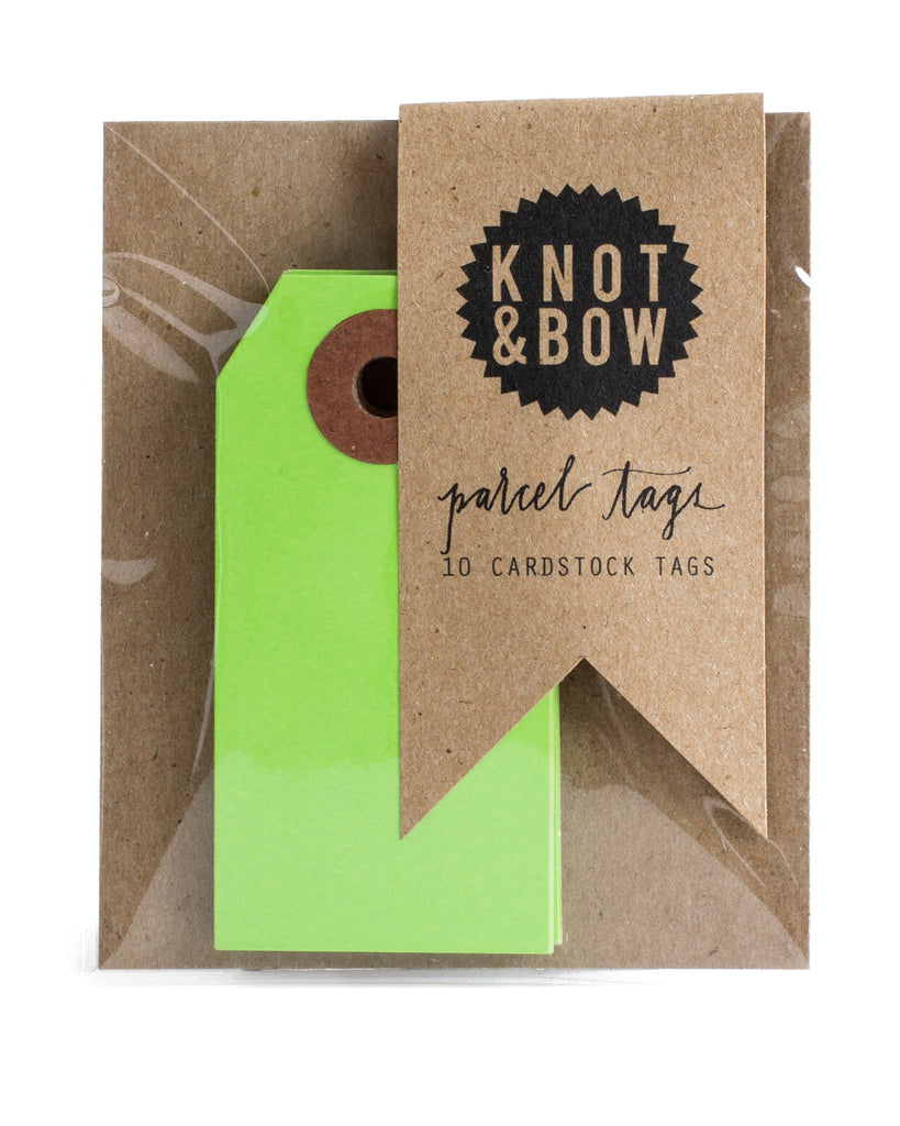Package of 10 paper parcel gift tags in light green